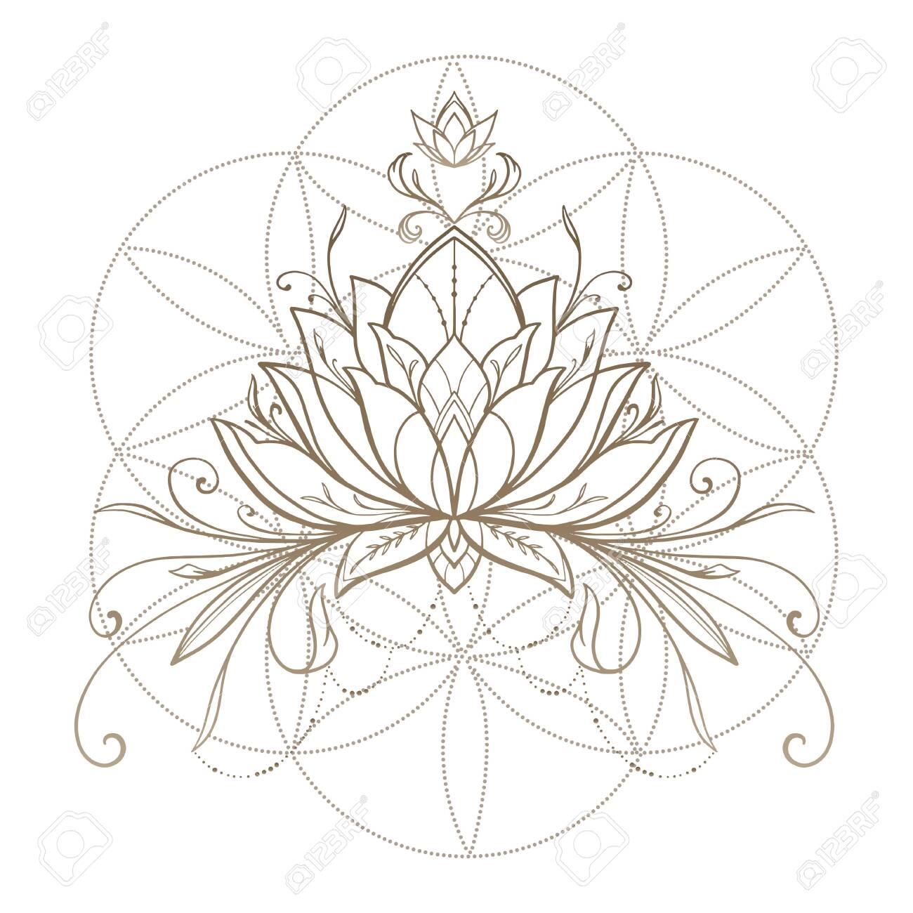 Filigree lotus flower, golden vector, hand drawn on geometry sign - 132919781