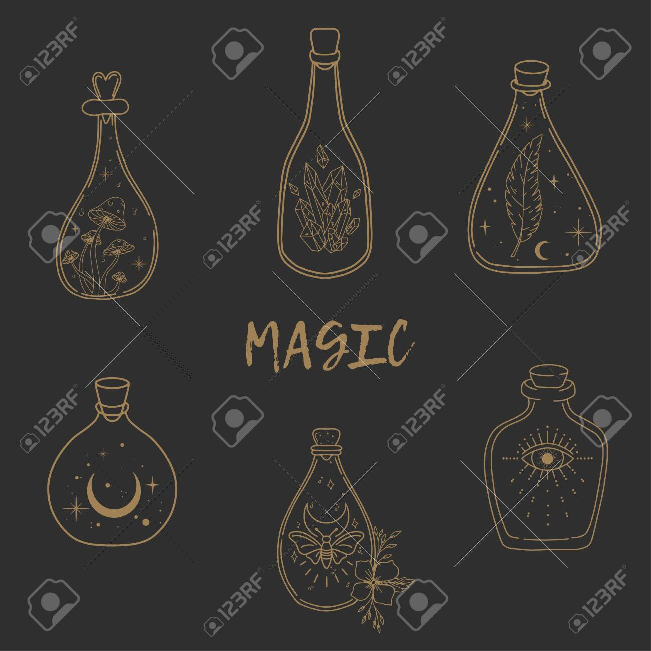 Hand drawn beautiful set of a magic bottles. Alchemy, spirituality, occultism, tattoo art, coloring books. Isolated vector illustration. - 138664321