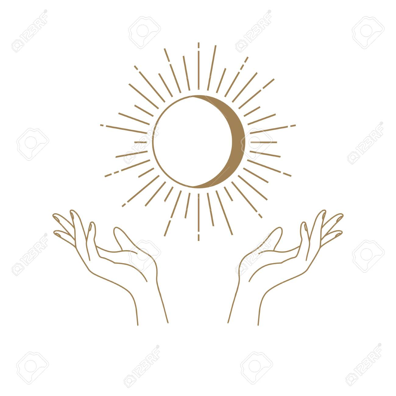 Vector abstract logo design template in trendy linear minimal style - hands , moon and sun - abstract symbol for cosmetics and packaging, jewellery, hand crafted or beauty products - 139090603