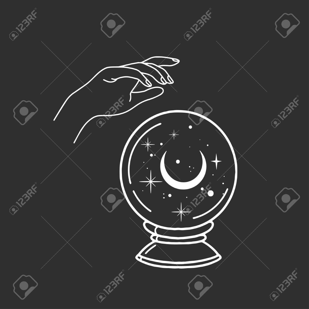 Witch hand with magic ball. Boho style. - 139469537