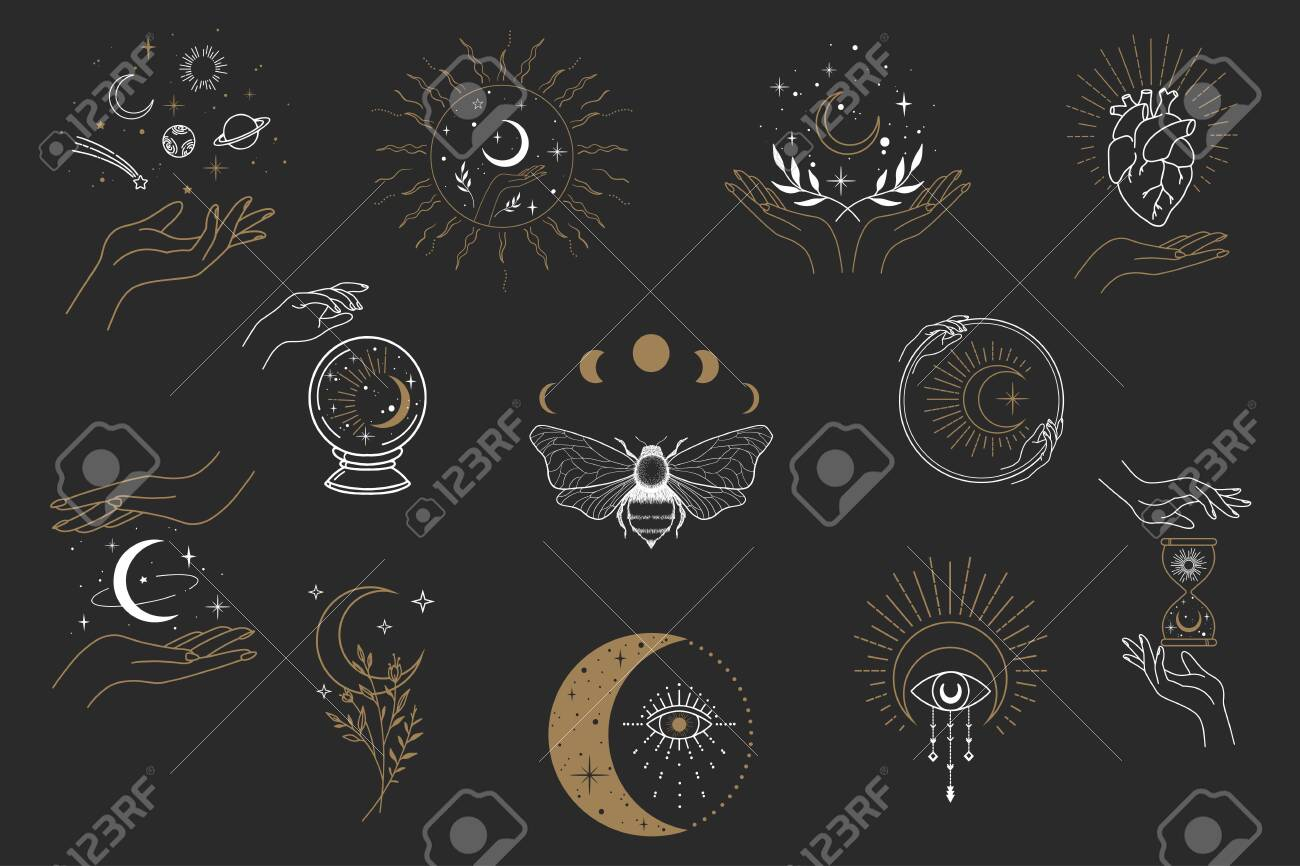 Vector witch magic design elements set. Hand drawn, doodle, sketch magician collection. Witchcraft symbols. Perfect for tattoo, textile, cards, mystery - 140301721