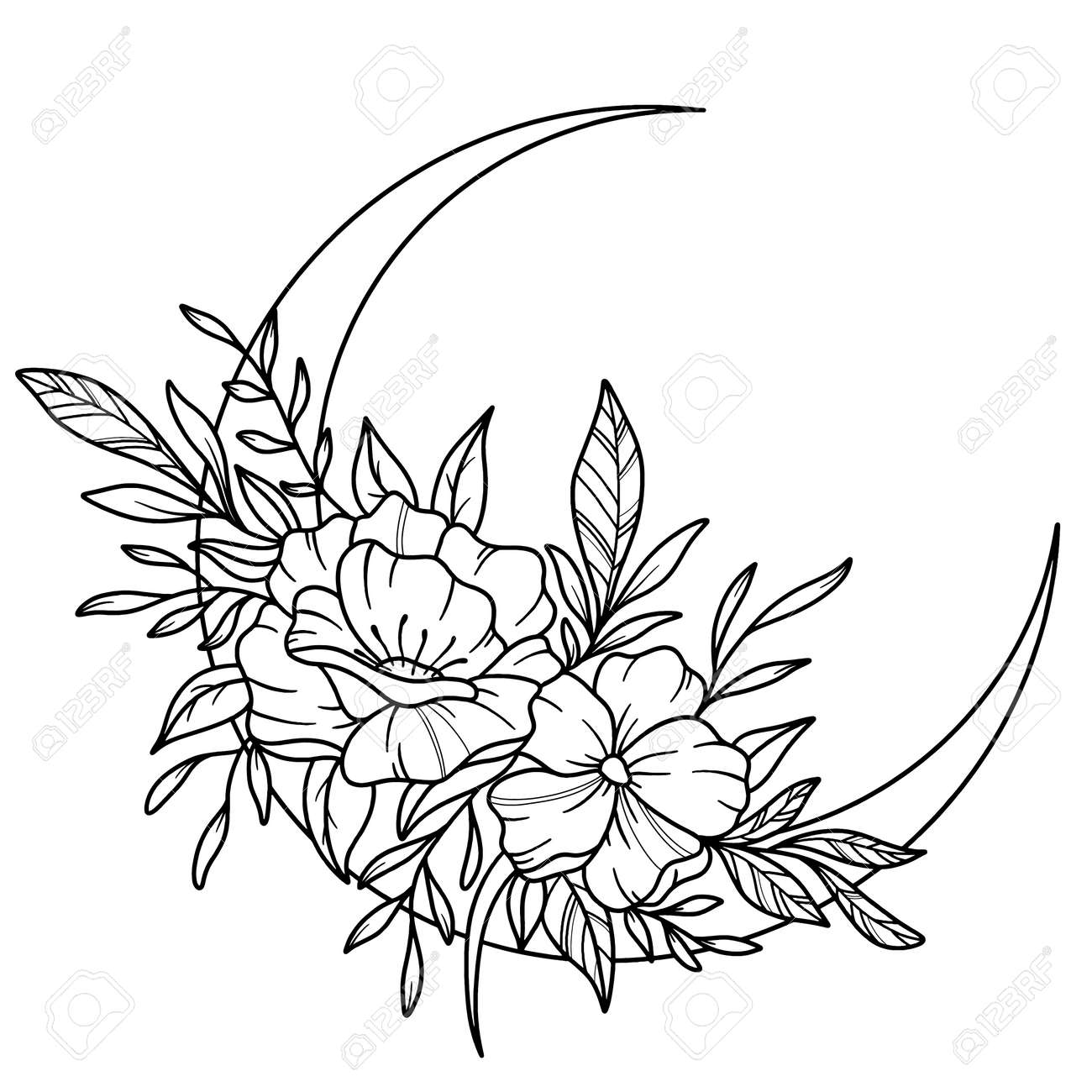 Beautiful flowers and leaves decorated crescent moon on white background - 165868527