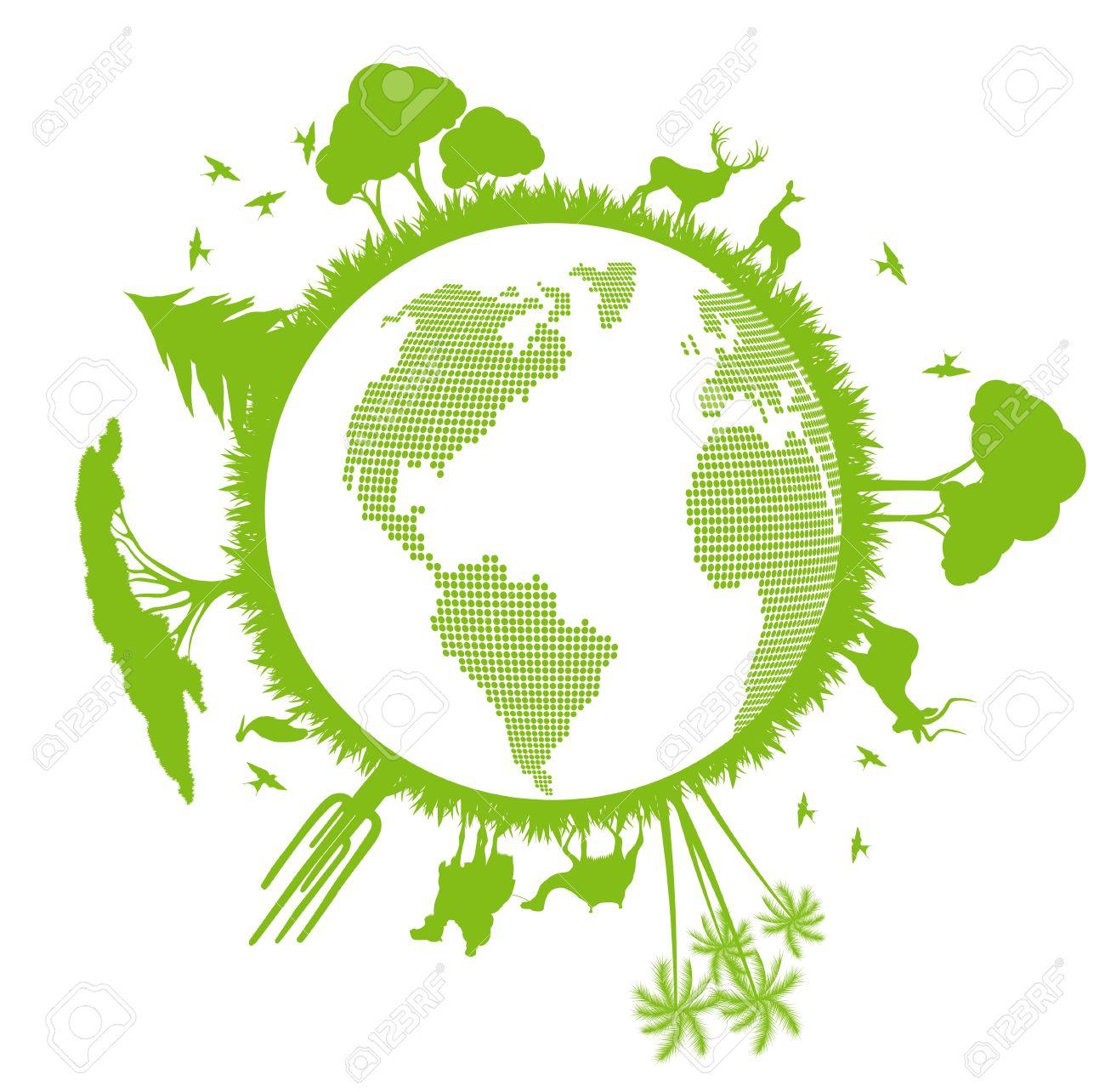 世界中の木が緑色のエコロジー地...