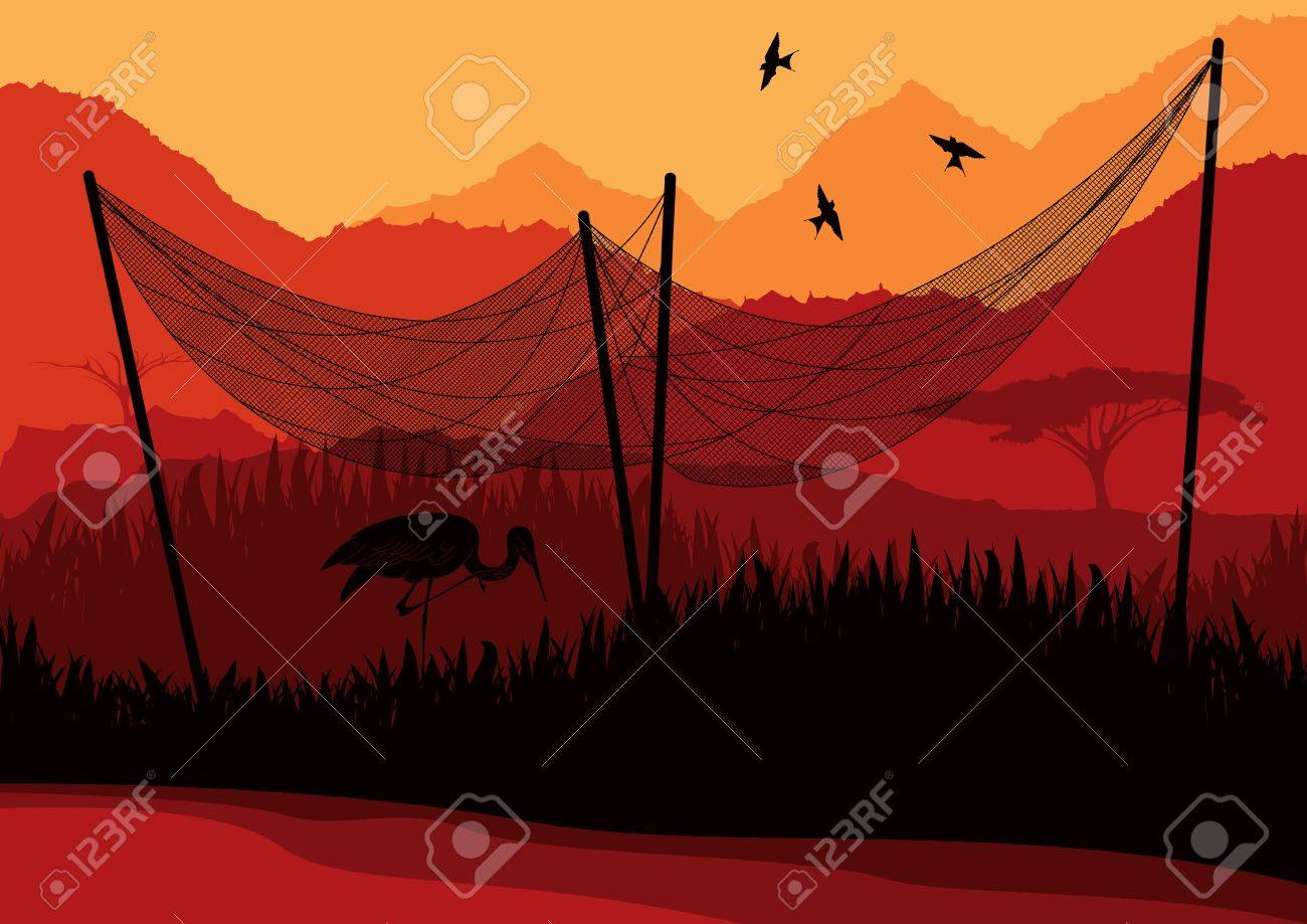 Animated heron under fishing net in wild african nature foliage illustration Stock Vector - 10510756