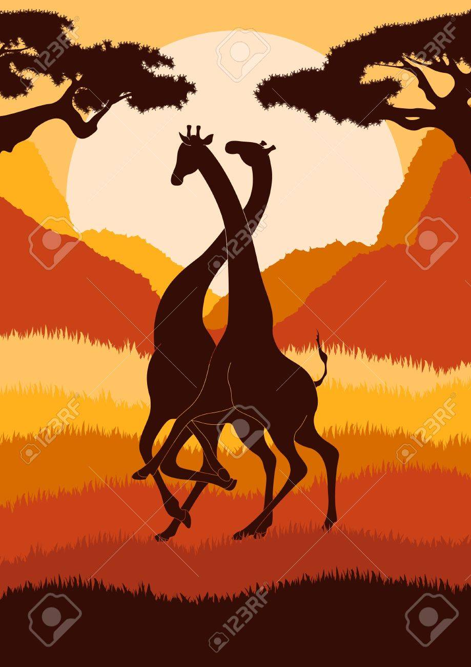 Romantic giraffe couple in wild african foliage illustration Stock Vector - 10510726