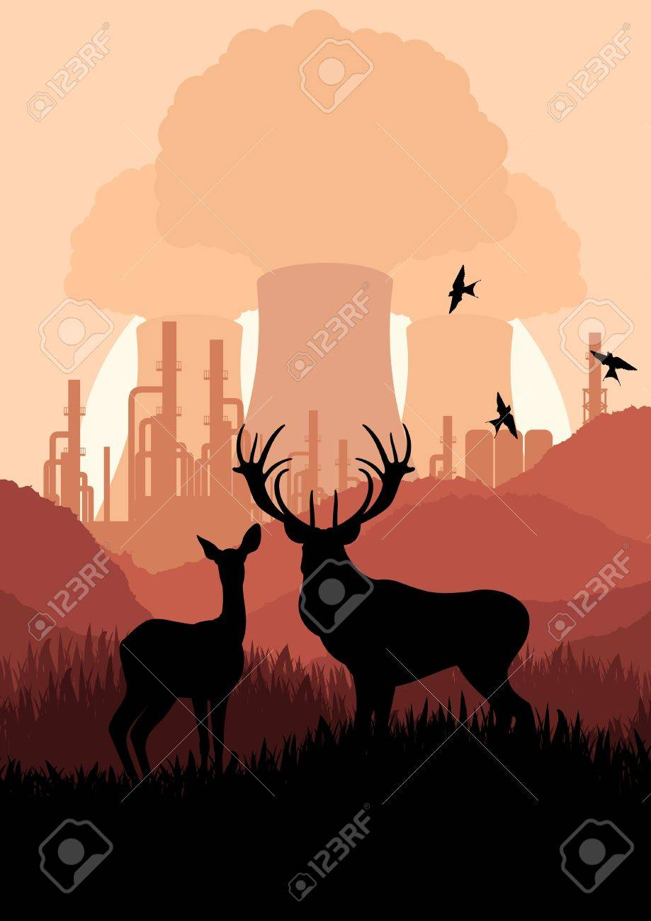 Animated rain deer family and nuclear power plant in wild nature landscape illustration Stock Vector - 10510698