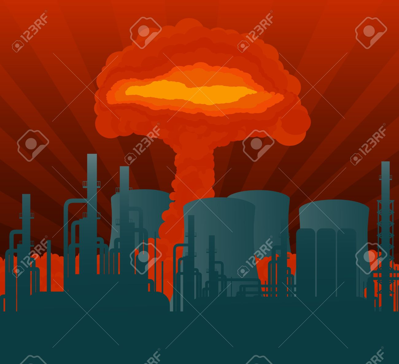 Atomic explosion cloud formed mushroom over nuclear power plant illustration Stock Vector - 10510723