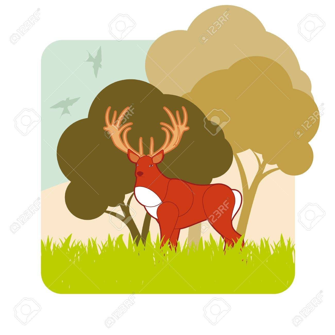 Animated dear hunting season foliage Stock Vector - 10510673