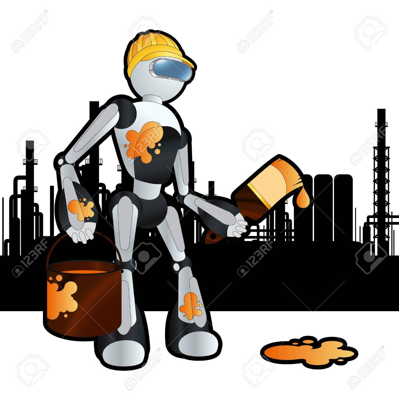 Animated construction site painter robot illustration Stock Vector - 10579667