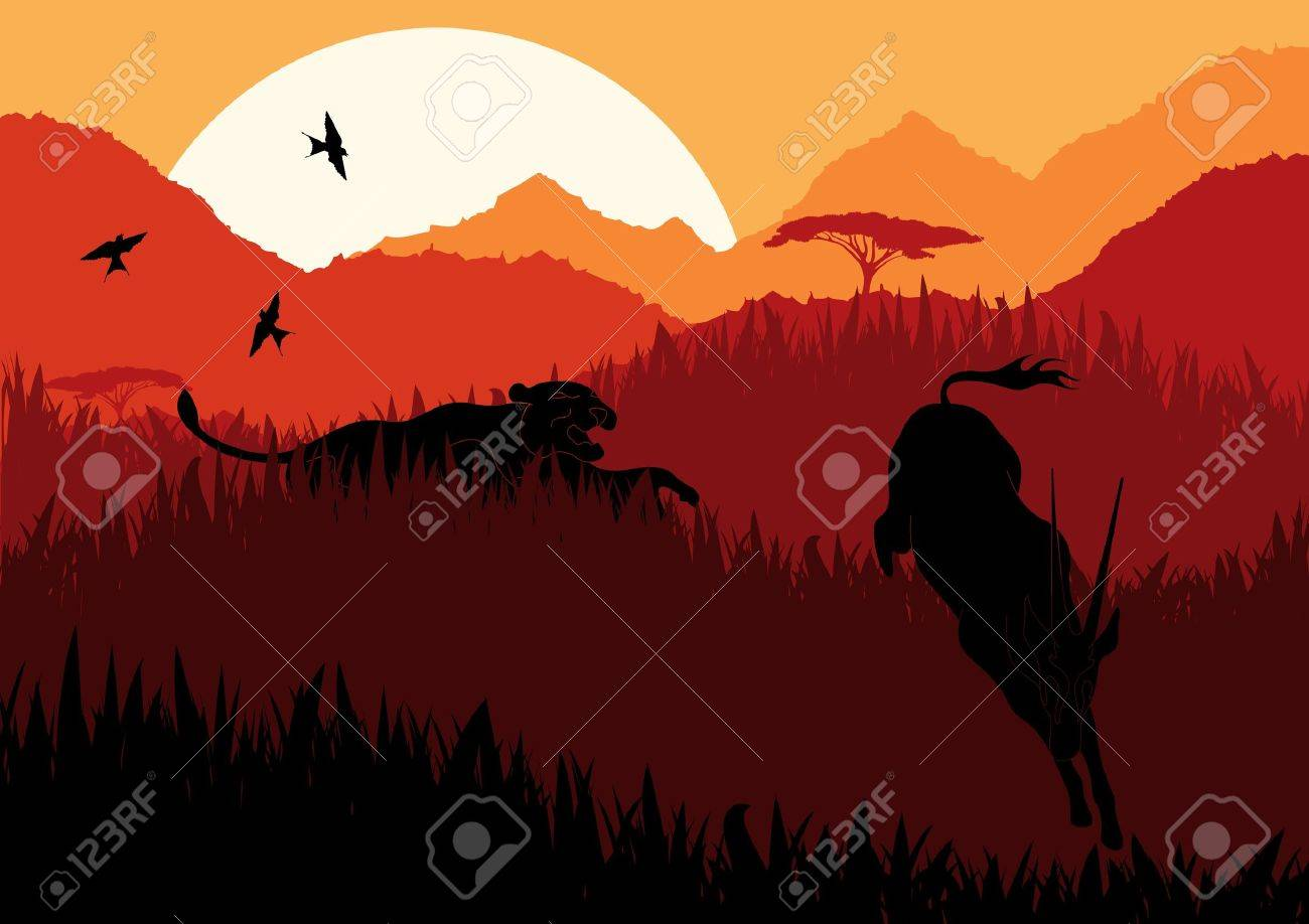 Animated lion hunting gazelle in wild africa mountain landscape Stock Vector - 10568958