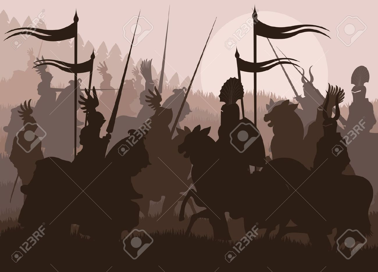 Medieval knights in battle vector background, rider leader duel Stock Vector - 10568969