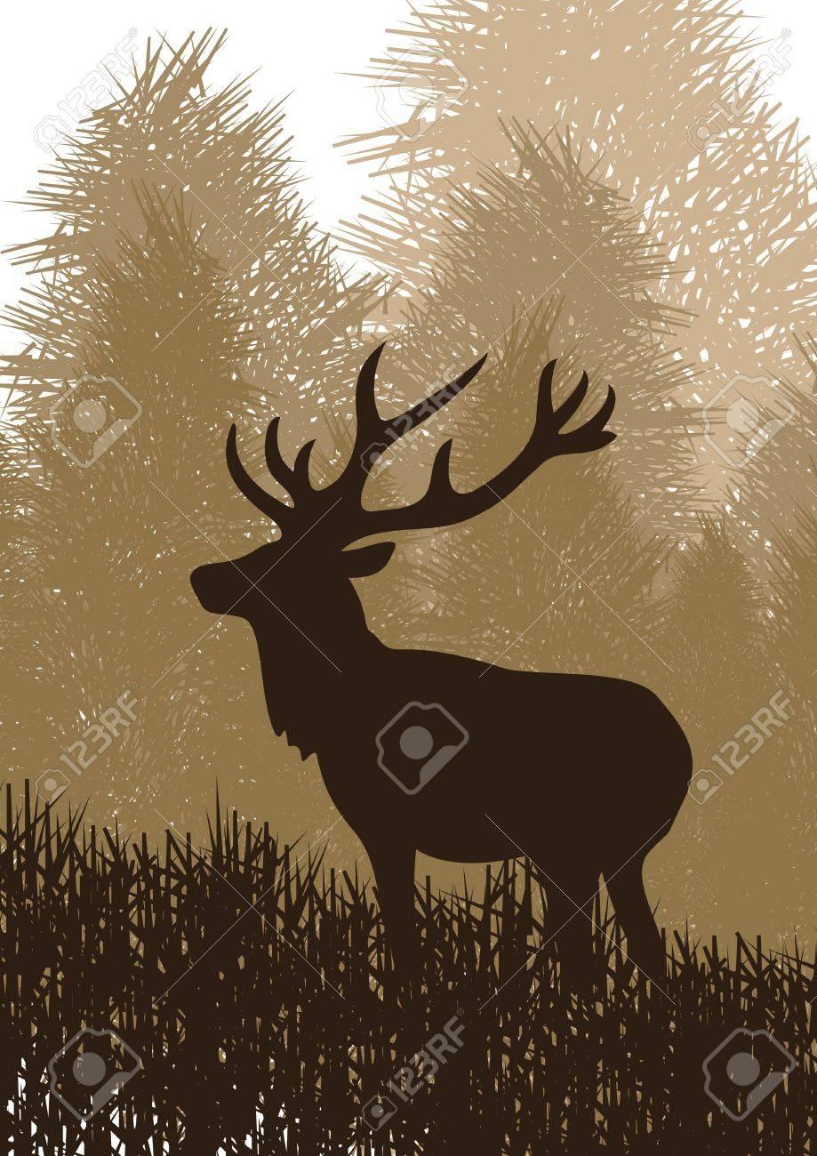 Animated rain deer in wild nature landscape illustration Stock Vector - 10568991