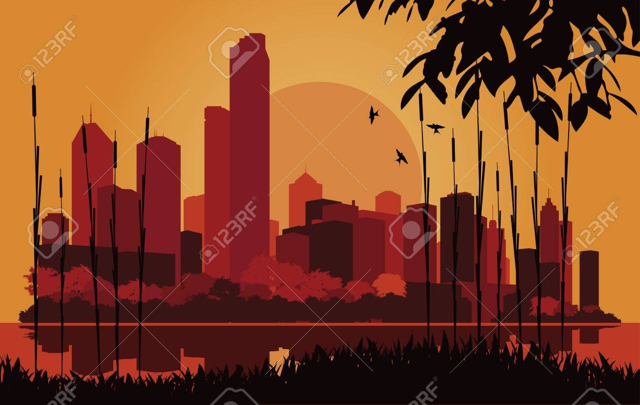 Skyscraper city landscape illustration Stock Vector - 10565757