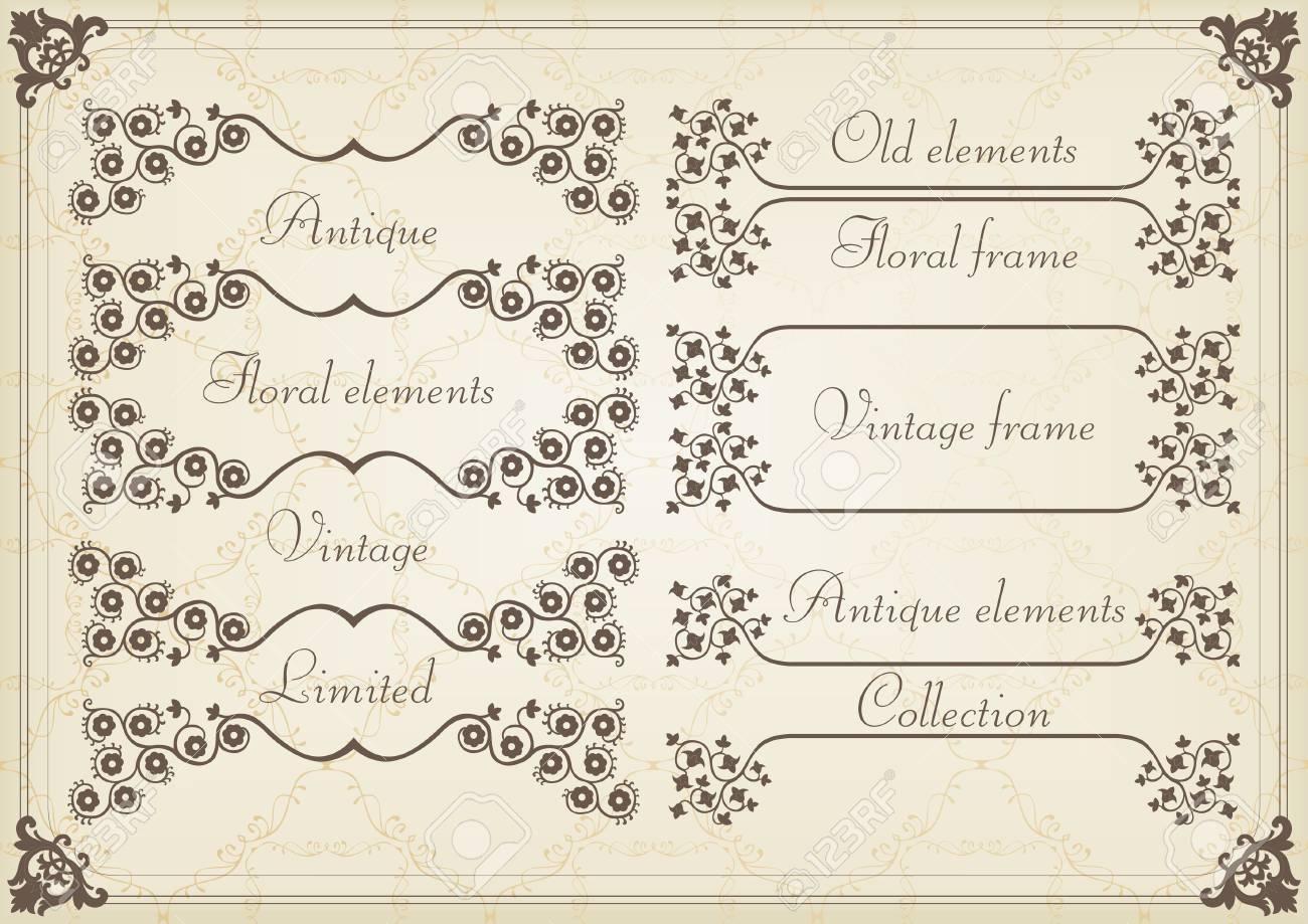 Vintage Wedding Invitation Frame Elements Illustration Stock Vector    10565721