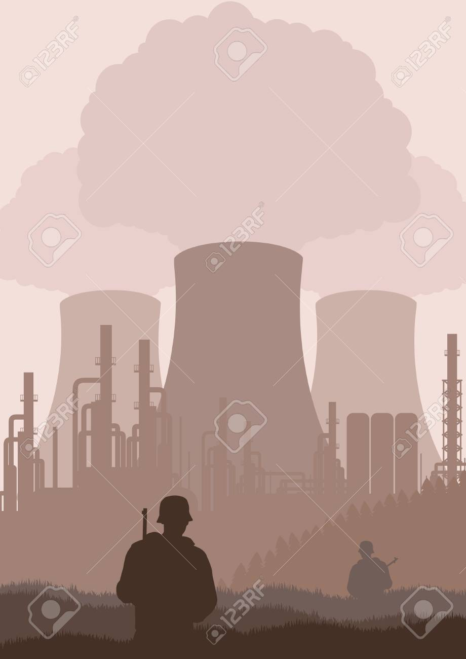 Army guarded nuclear plant illustration Stock Vector - 10574329