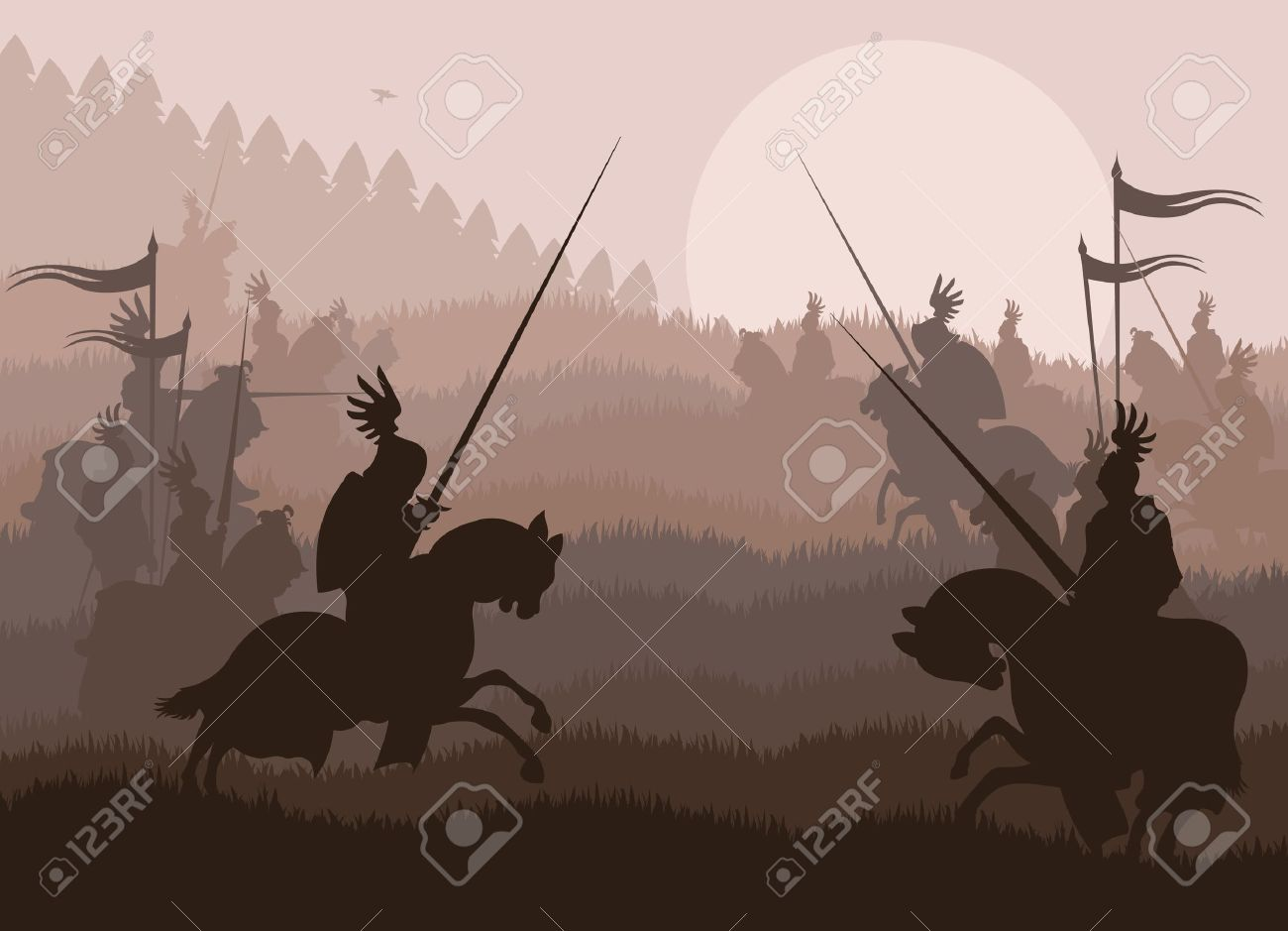 Medieval knights in battle vector background, rider leader duel Stock Vector - 10579022