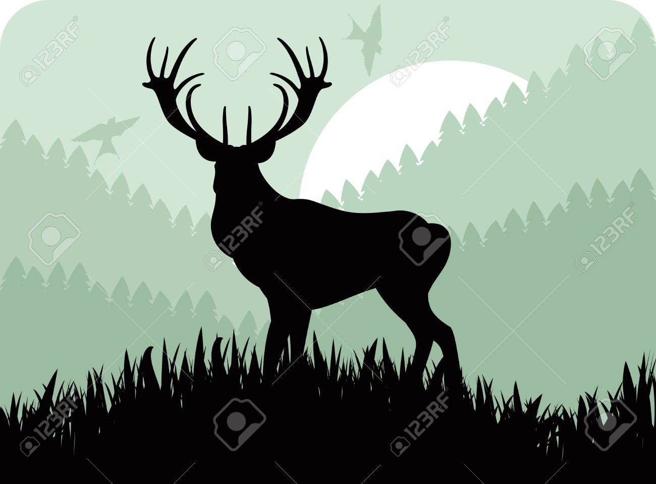 Animated rain deer family in wild forest foliage illustration Stock Vector - 10553797