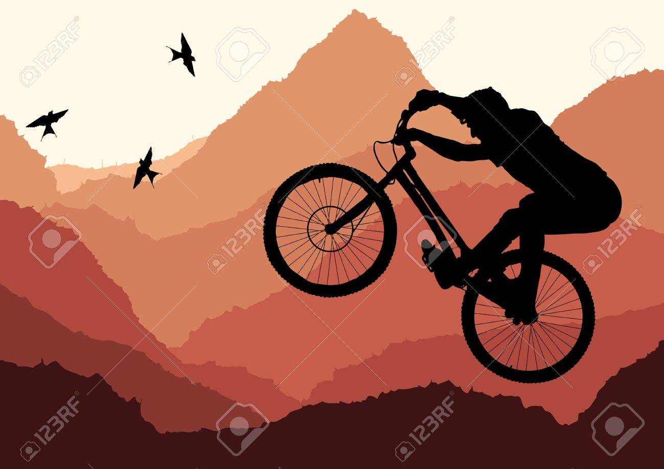 Mountain bike trial rider in wild nature landscape illustration Stock Vector - 10553788