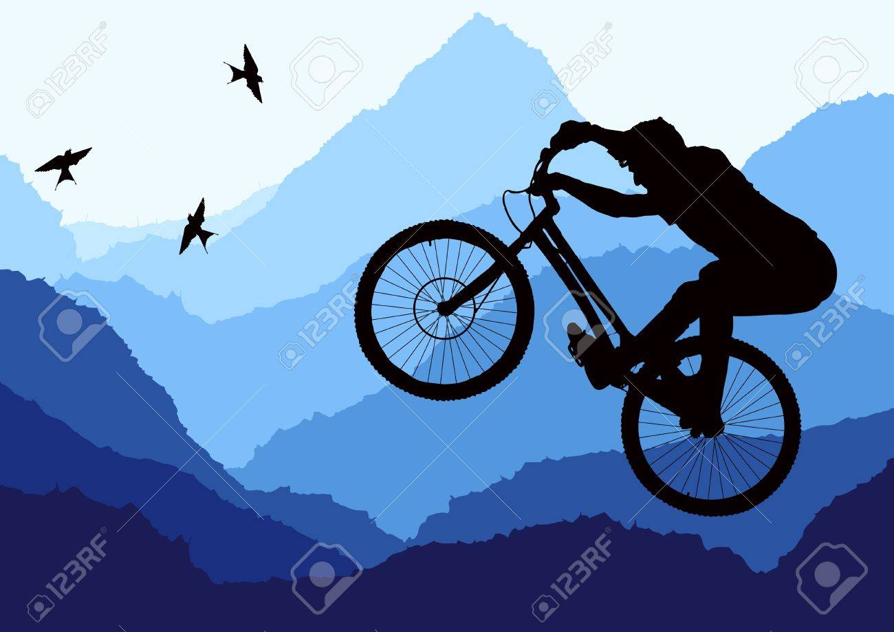 Mountain bike trial rider in wild nature landscape illustration Stock Vector - 10553858