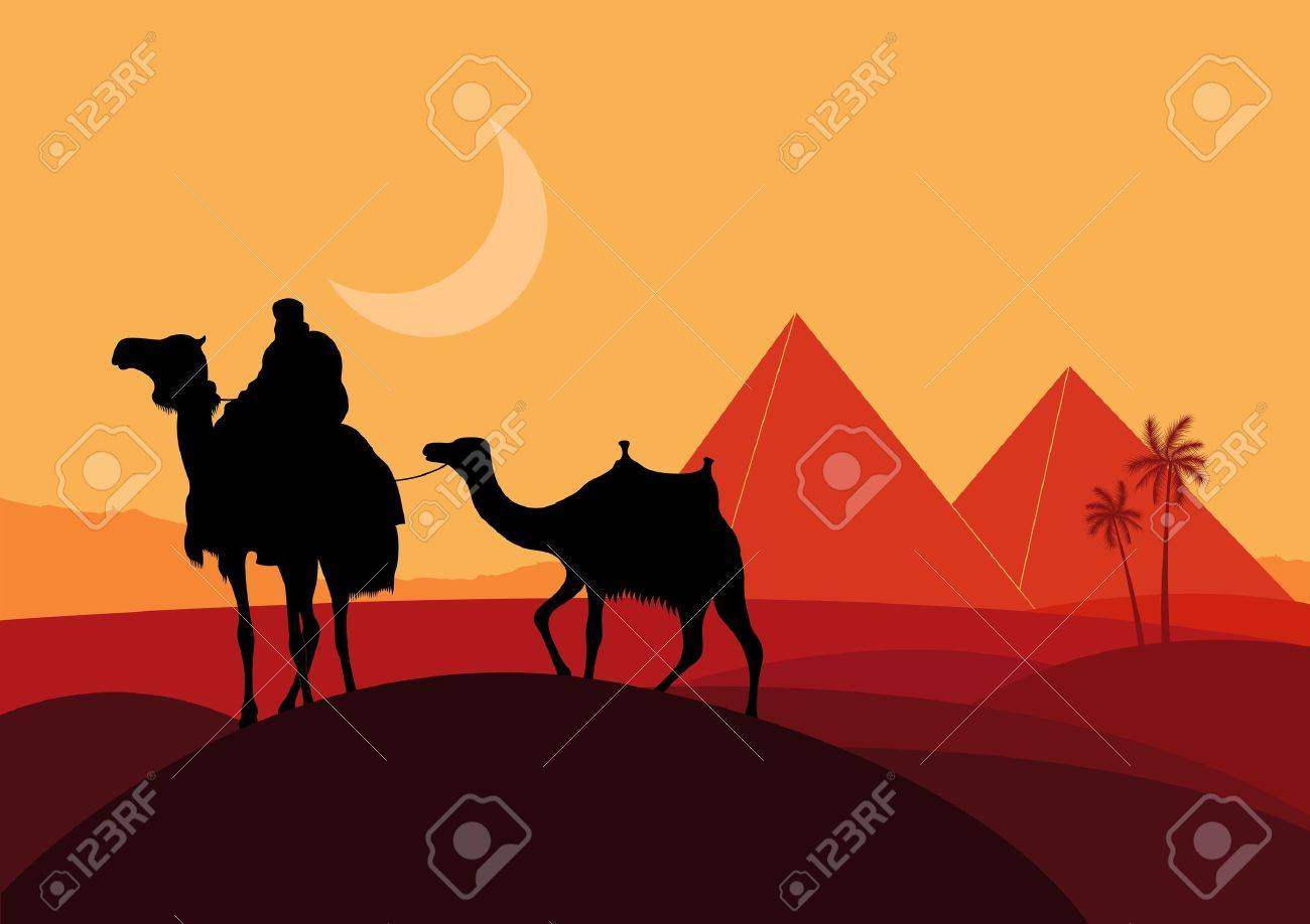 Camels with pyramids in wild africa landscape Stock Vector - 10553791
