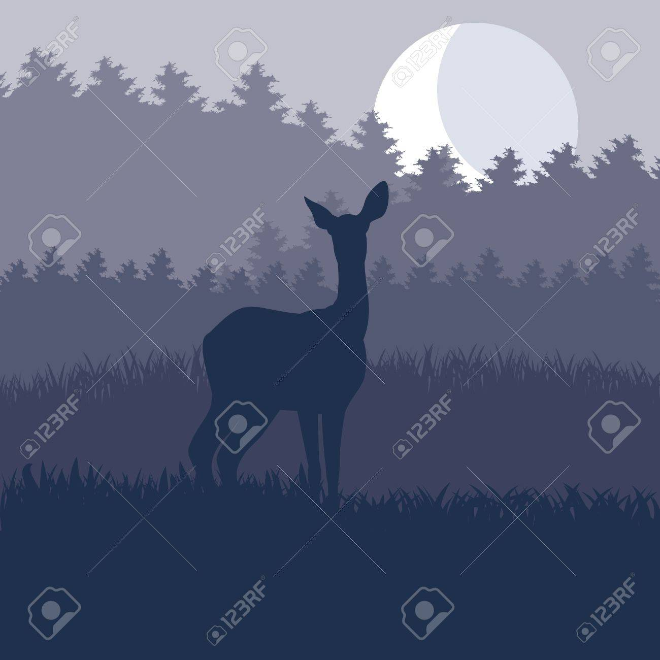 Rain deer family in wild night forest foliage illustration Stock Vector - 10578998