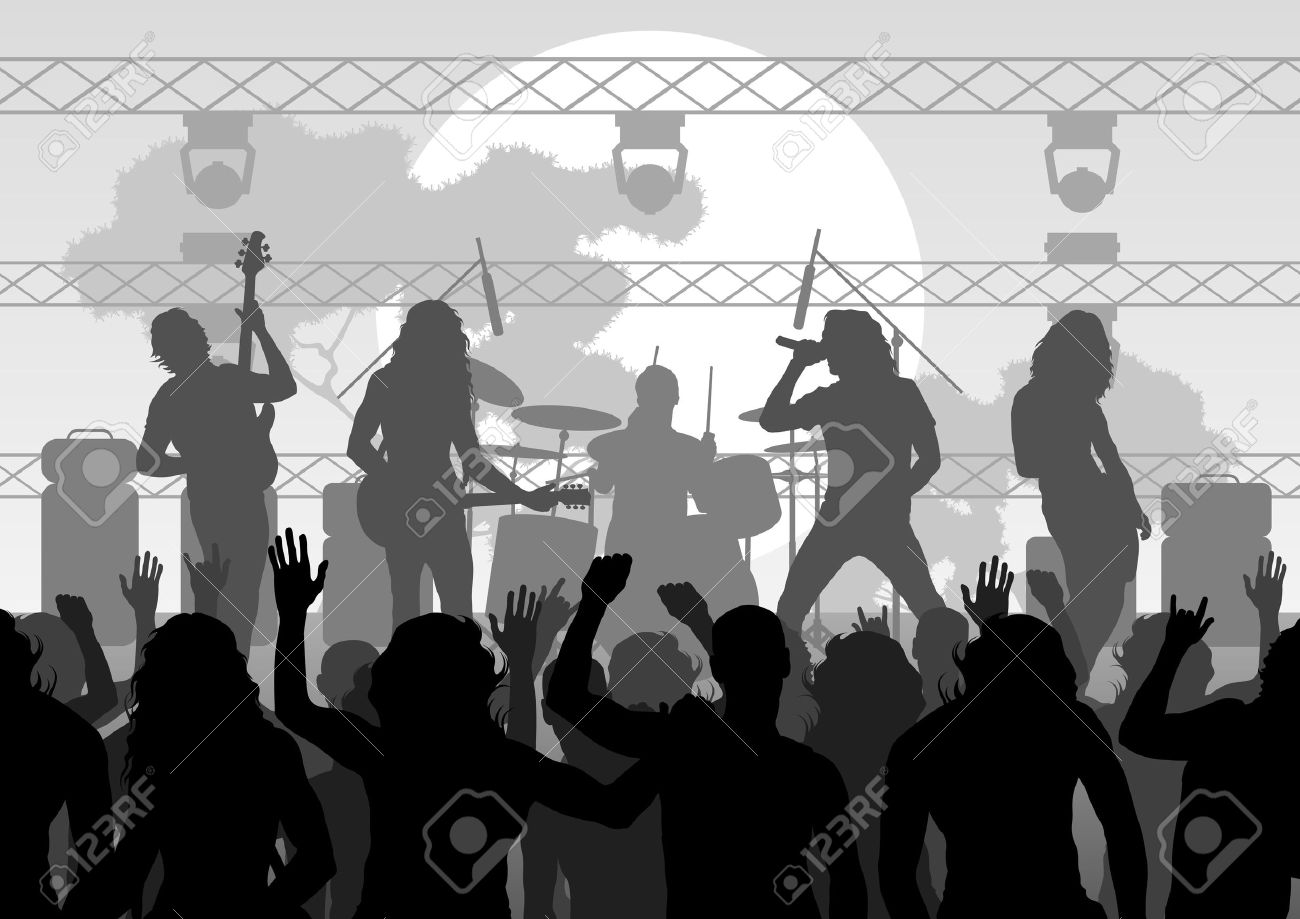 Rock concert landscape background illustration Stock Vector - 10803648