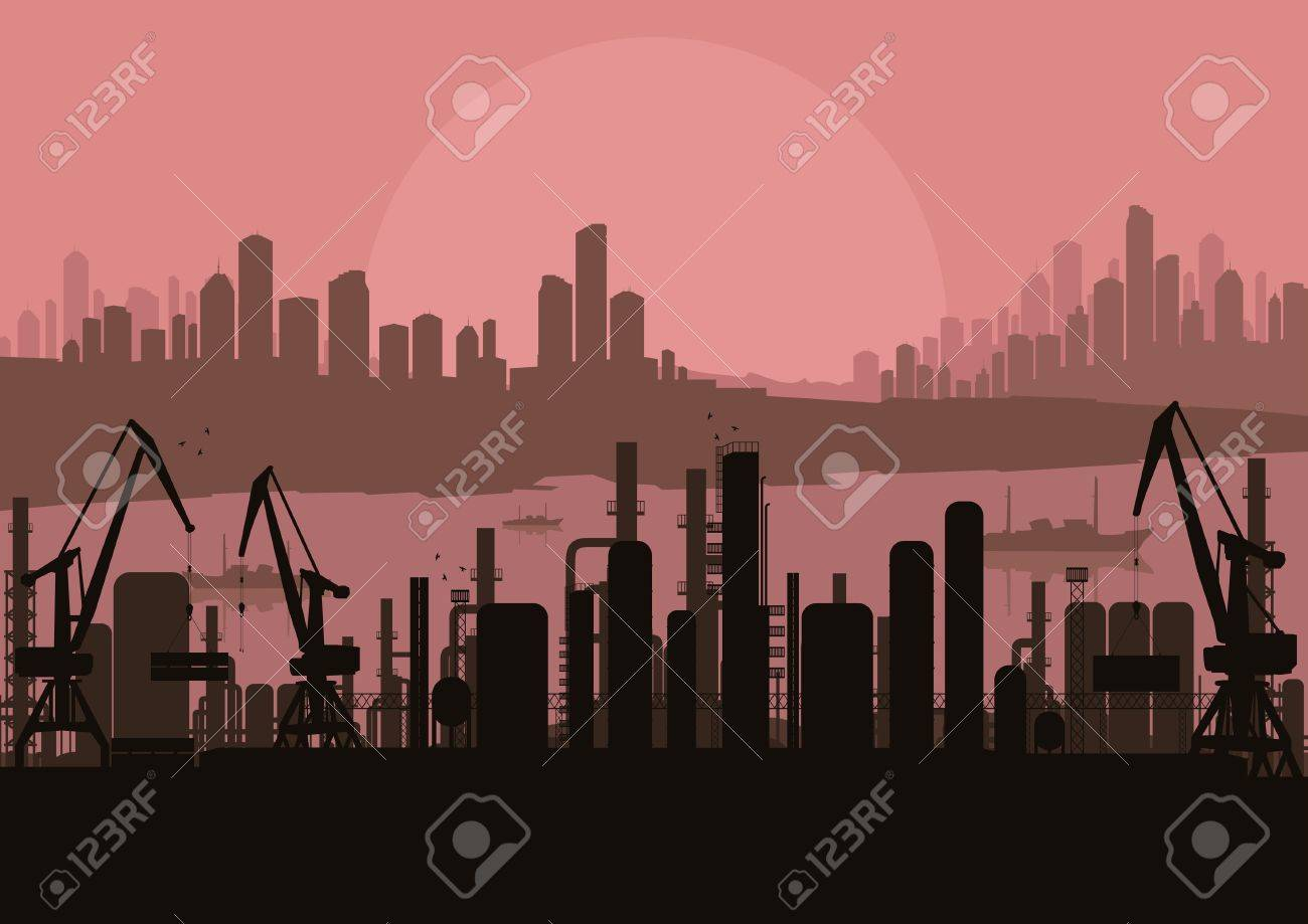 Industrial factory landscape background illustration Stock Vector - 10803632