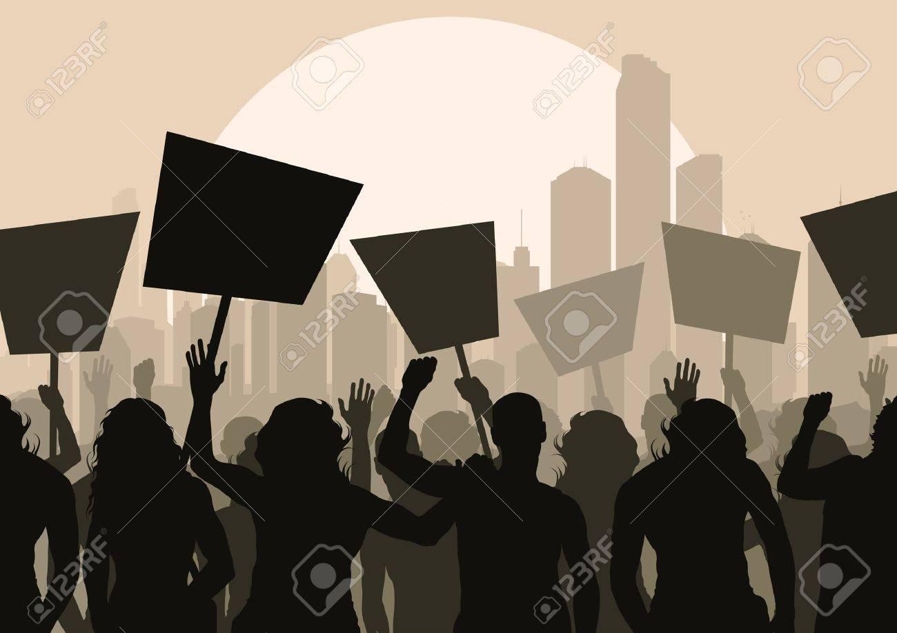 Protesters crowd landscape background illustration - 11058924