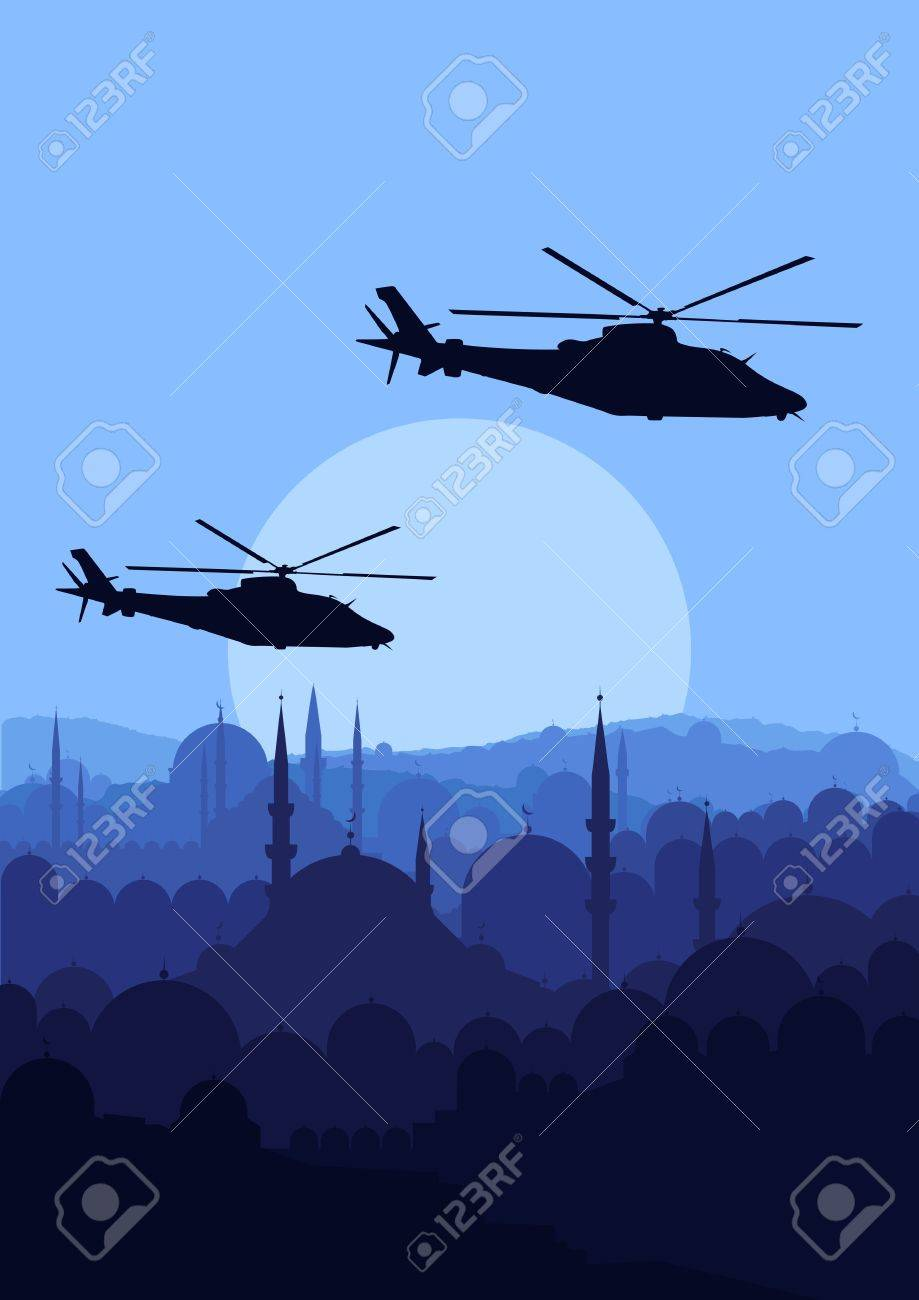 Army helicopters in mountain landscape background illustration Stock Vector - 11650017