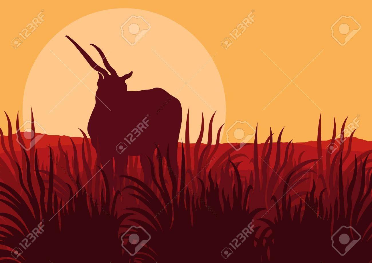 Antelope in wild nature landscape illustration Stock Vector - 11650033