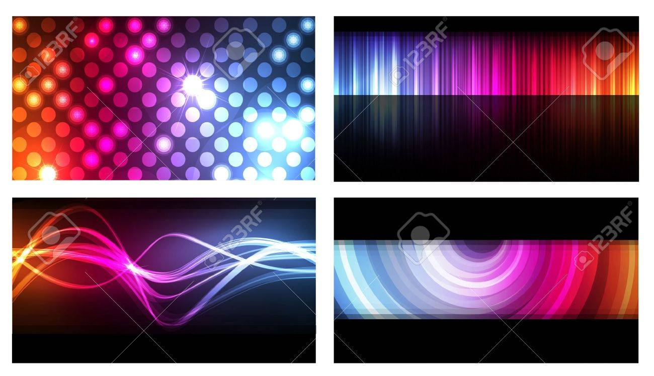 Set Of Colorful Business Cards Neon Background Vector