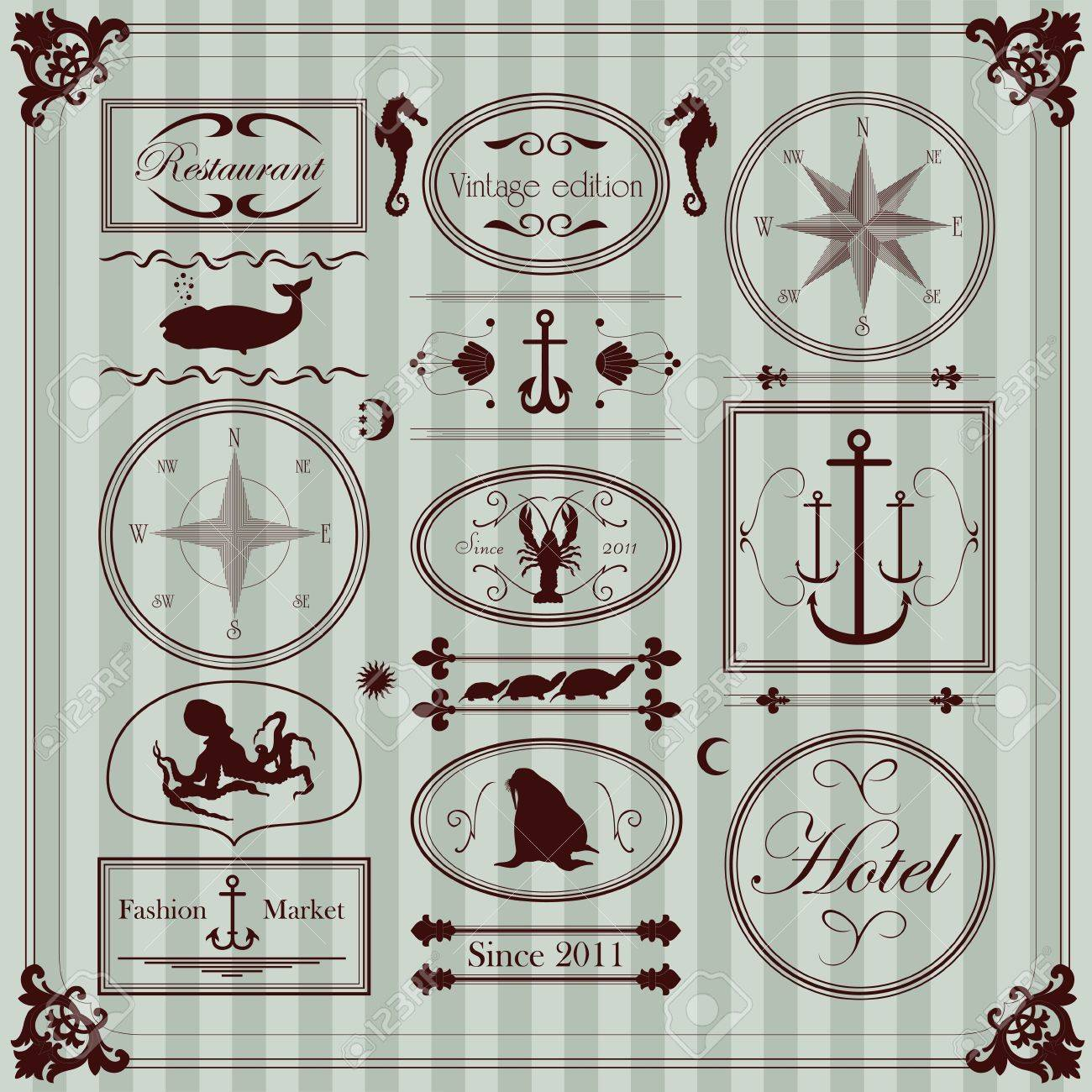 320a048c6c7 Vintage seafood restaurant frames and elements illustration collection  Stock Vector - 11650018