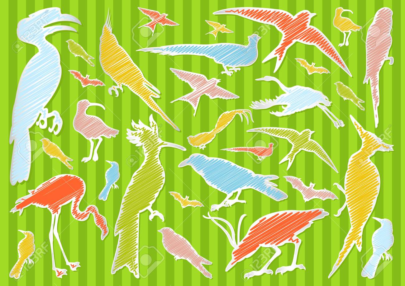 Birds and ecology illustration collection background Stock Vector - 11649892