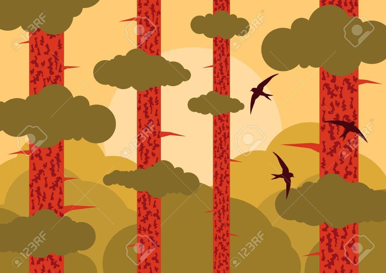 Pine tree forest landscape background illustration Stock Vector - 11650015
