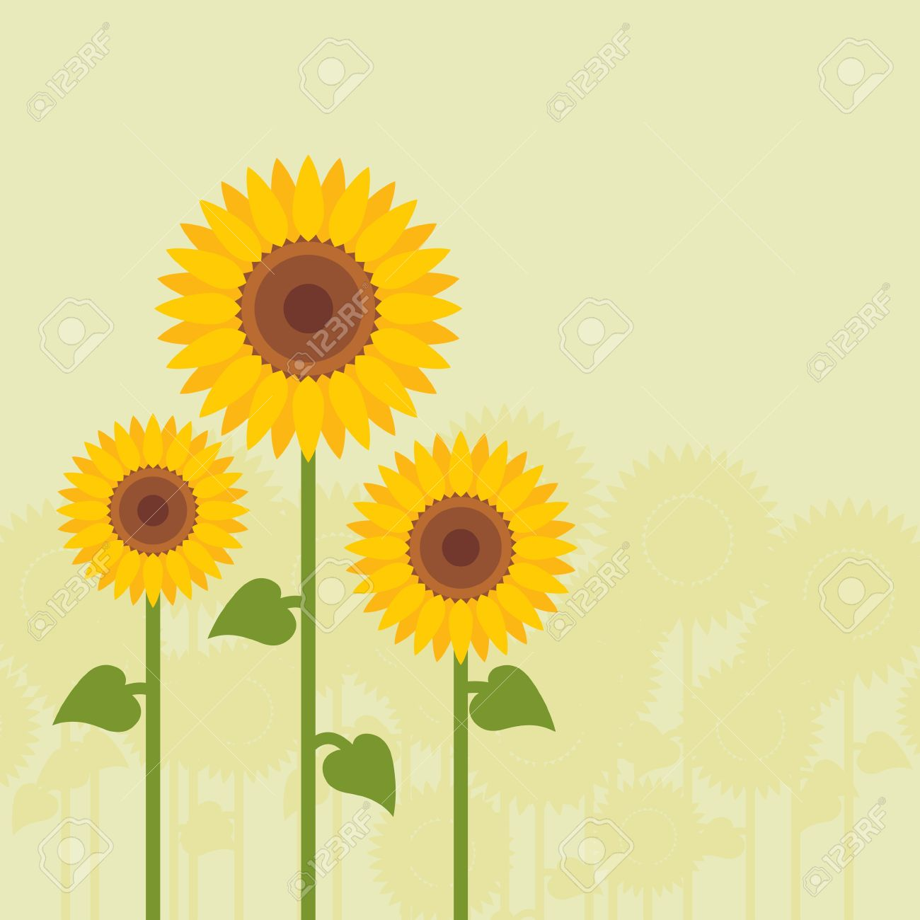 Yellow sunflowers landscape background illustration Stock Vector - 11650054