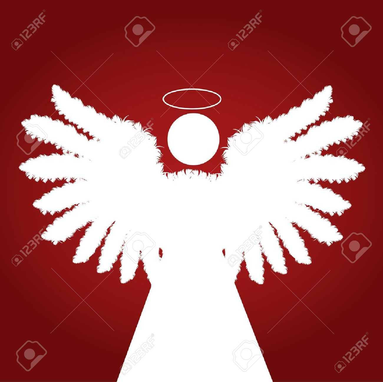 Christmas Angel with feather wings vector red background Stock Vector - 11649948