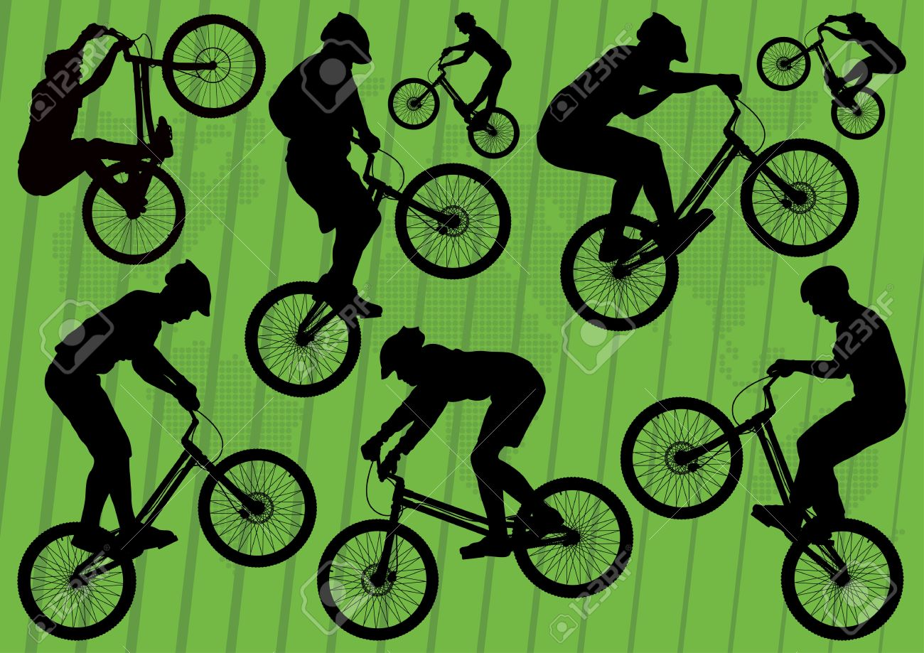 Mountain bike trial riders silhouettes illustration collection background Stock Vector - 11649818