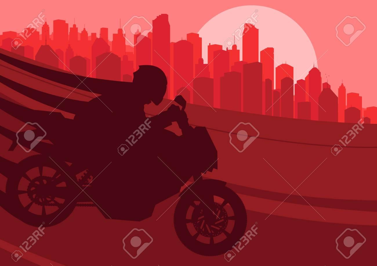 Sport motorbike riders silhouettes in skyscraper city landscape
