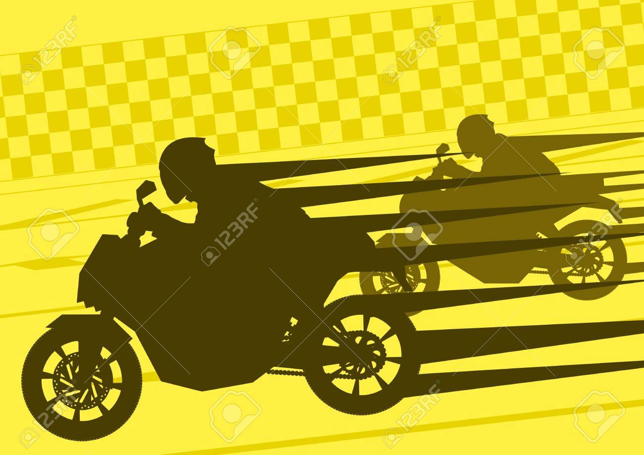 Sport motorbike riders silhouettes in urban city landscape background illustration vector Stock Vector - 12045410