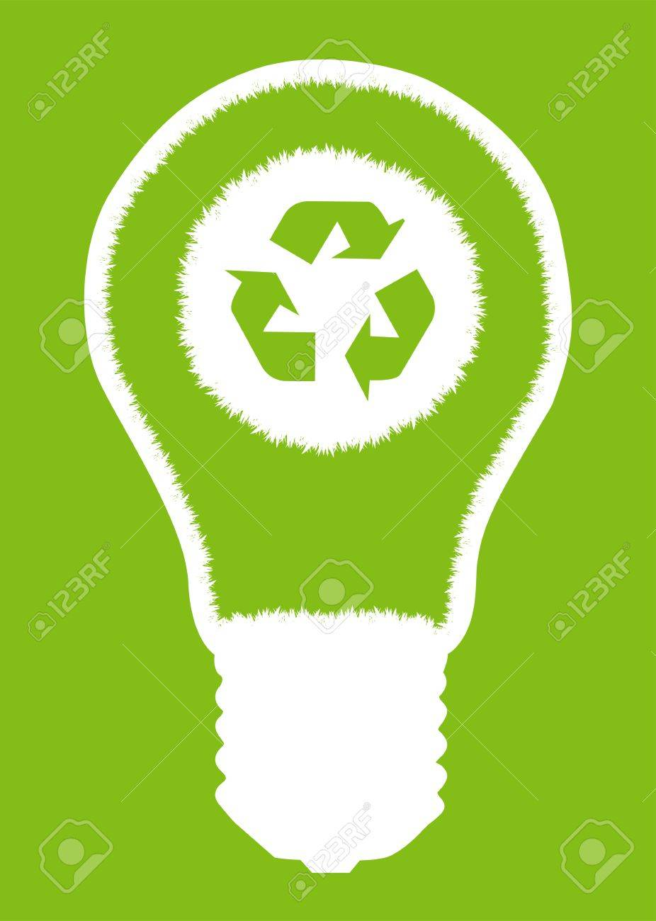 Green Grass Light Bulb And Recycle Round Inside. Recycling Concept Vector  Background Poster Stock Vector