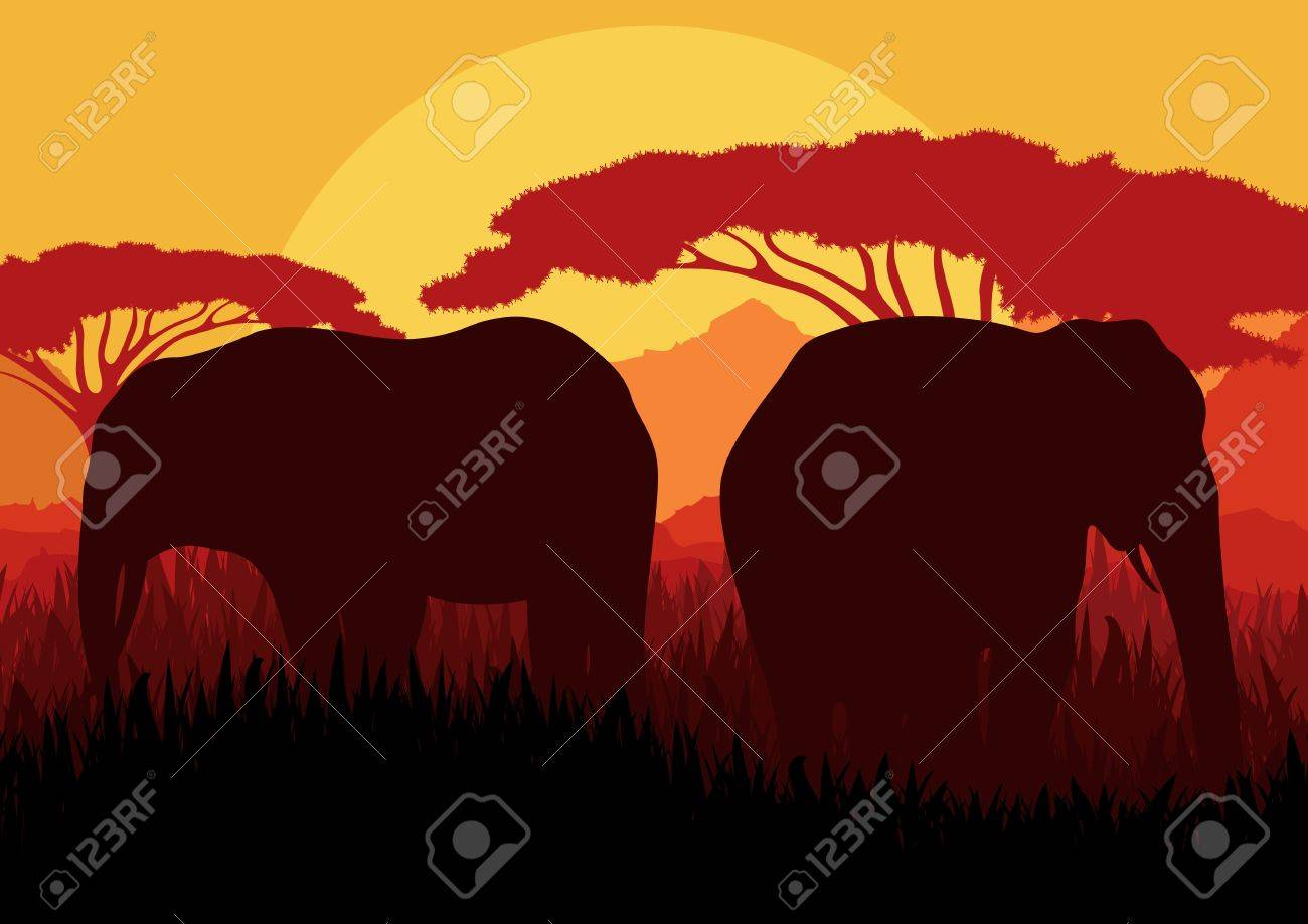 Elephant family silhouettes in wild nature mountain landscape background illustration vector Stock Vector - 12045319