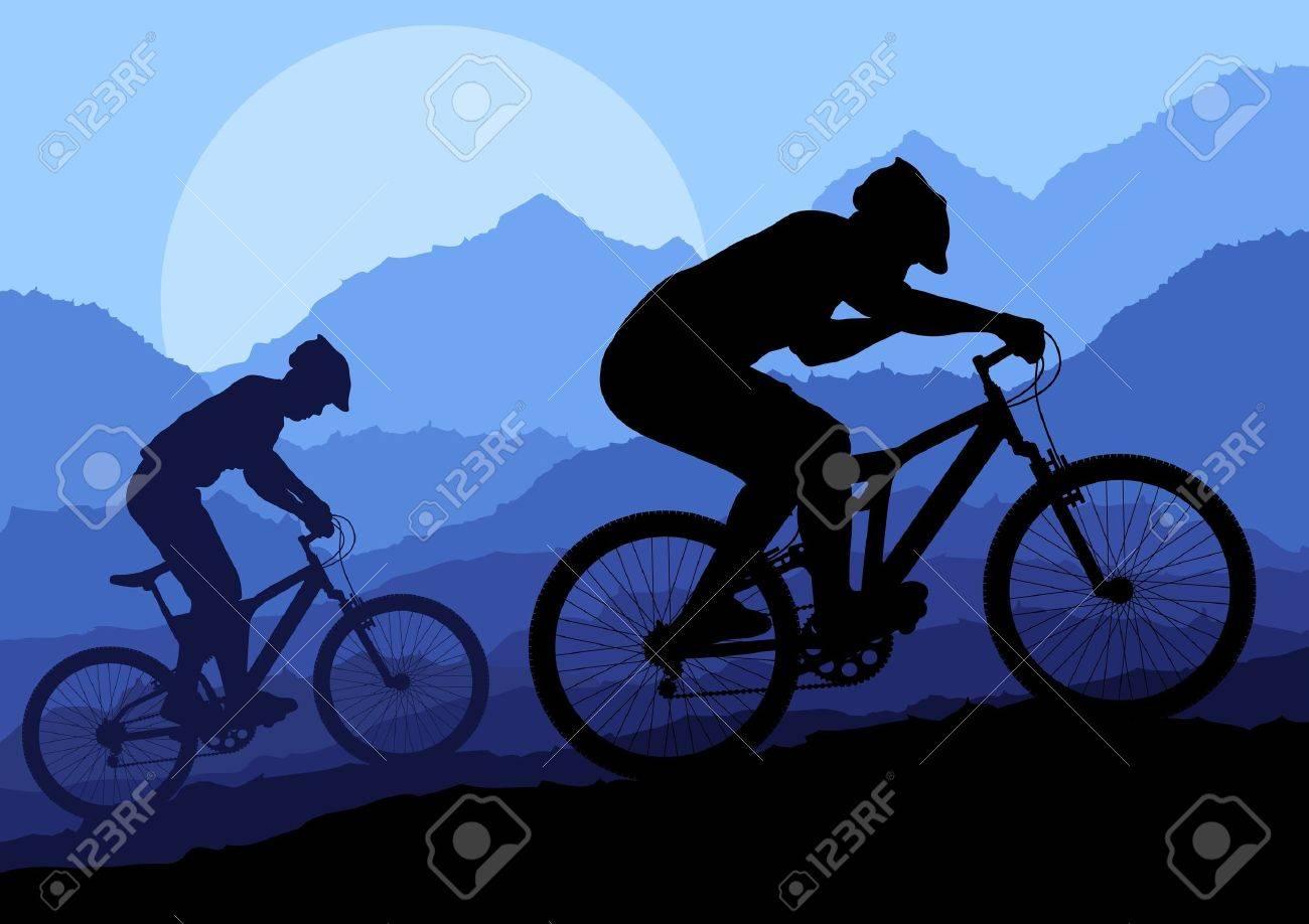 Mountain bike rider in wild nature landscape background illustration vector Stock Vector - 12045378