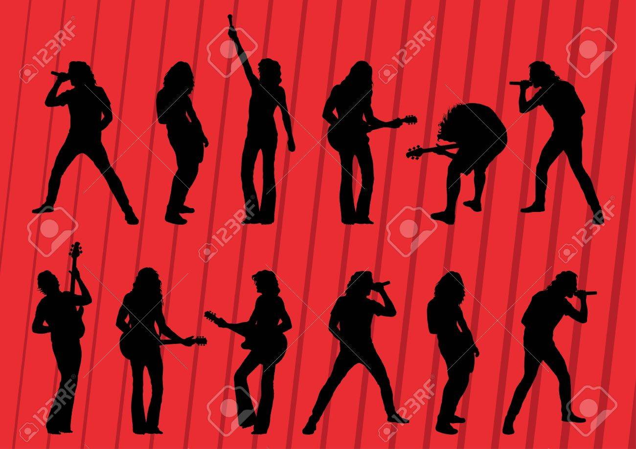 Rock musicians silhouettes illustration collection background vector Stock Vector - 12045388