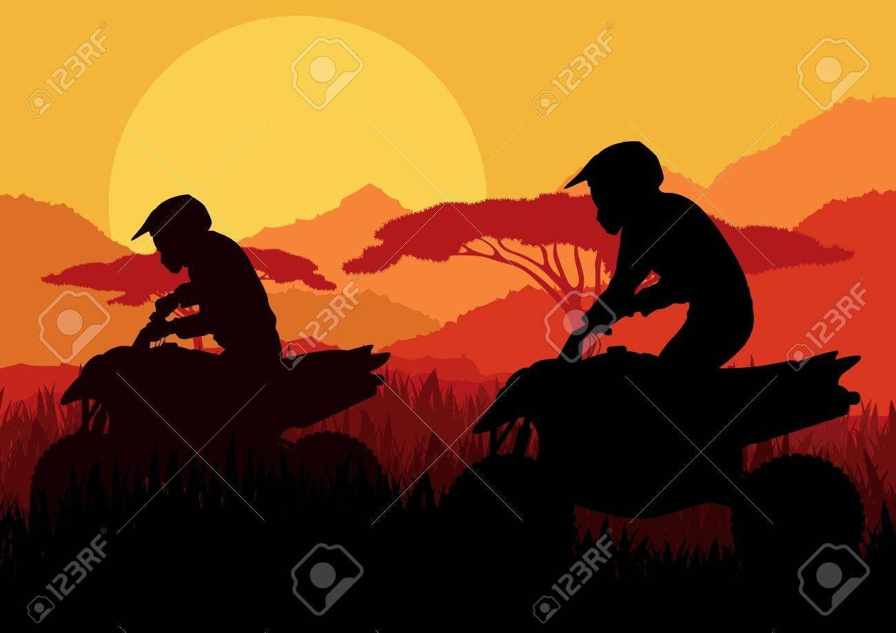 All terrain vehicle quad motorbike riders in wild nature landscape background illustration vector Stock Vector - 12045314