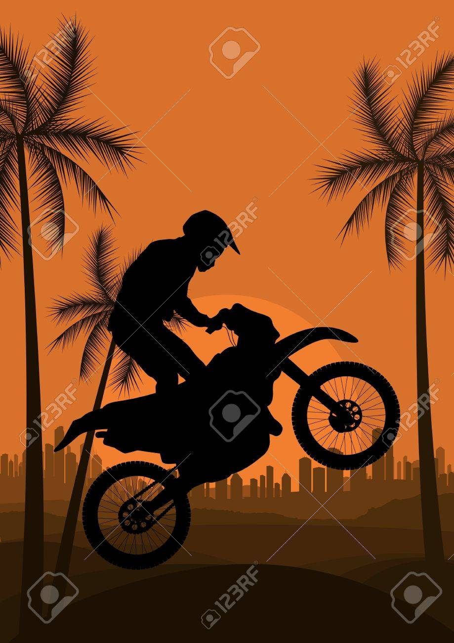 Motorbike rider in skyscraper city landscape background illustration vector Stock Vector - 12045379