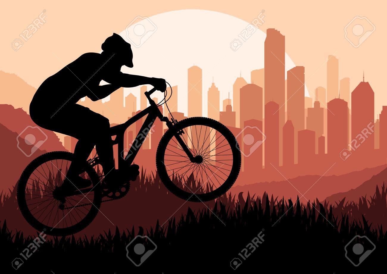 Mountain bike rider in skyscraper city landscape background illustration Stock Vector - 12045350