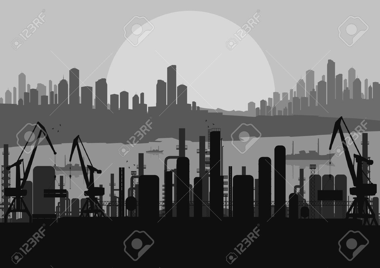 Industrial factory landscape skyline background illustration vector Stock Vector - 12045353