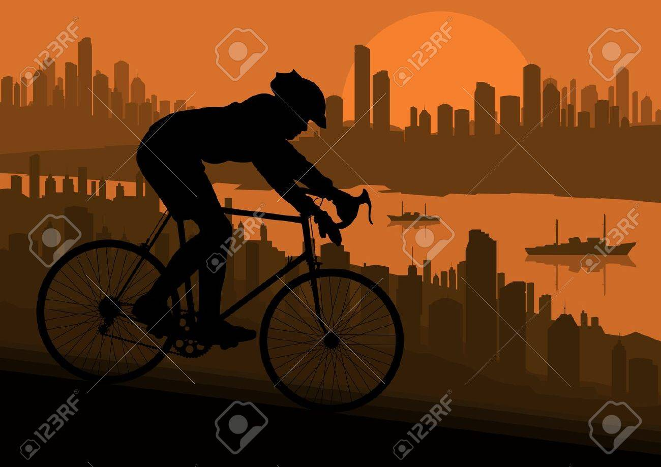 Sport road bike bicycle riders in skyscraper city landscape background illustration vector Stock Vector - 12045247