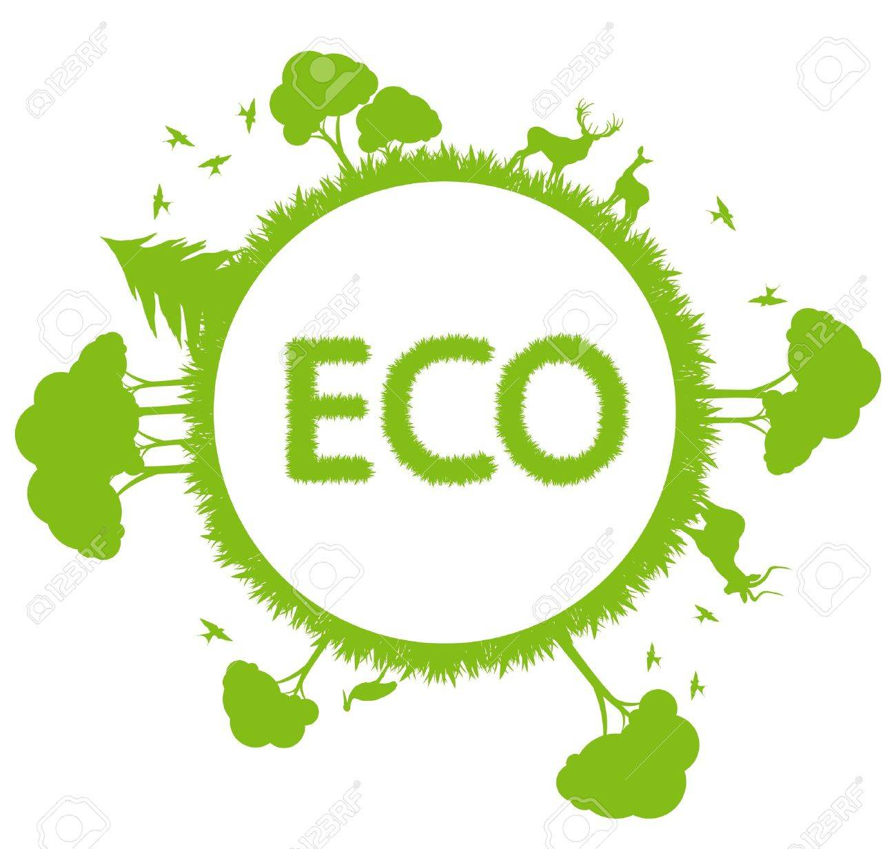 Green ecology planet vector background with trees around globe Stock Vector - 12045231