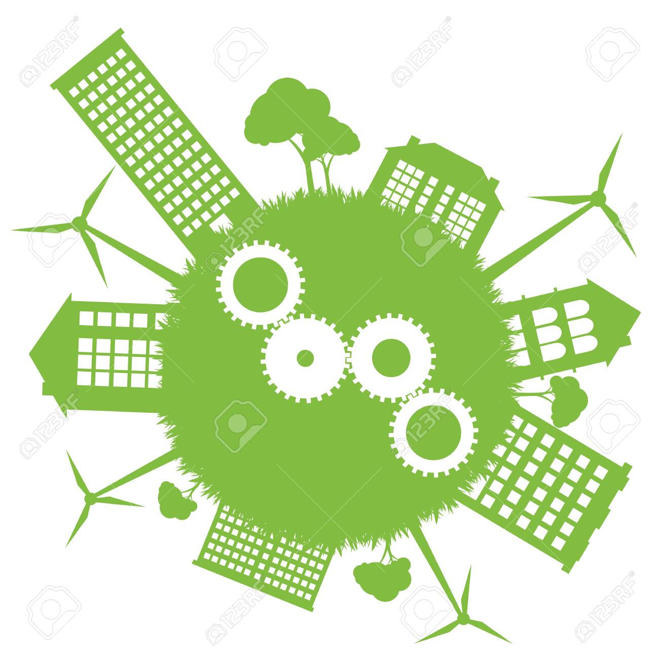 Ecological planet vector background with wind generators and conceptual gears Stock Vector - 12485006